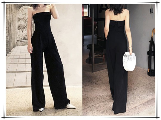 black tube top jumpsuit