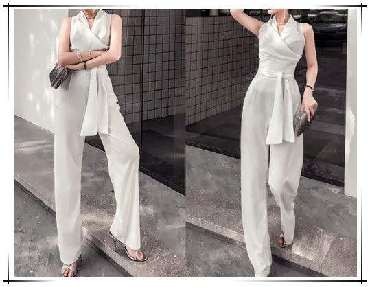 white silk jumpsuit